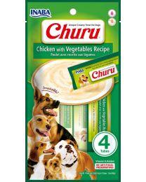 """Snack Cremoso """"CIAO Churu"""" de Pollo y Vegetales para Perros - 4 tubos"""